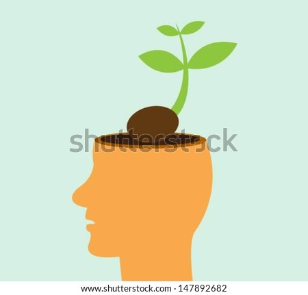 Tree growing from a head, Learning concept