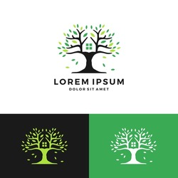 tree house green negative space logo vector icon