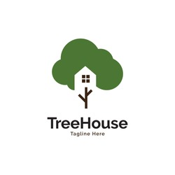 Tree house inspiration logo design vector template