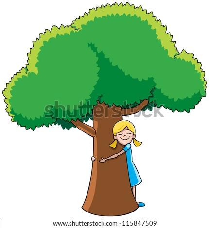 tree hugger  little girl