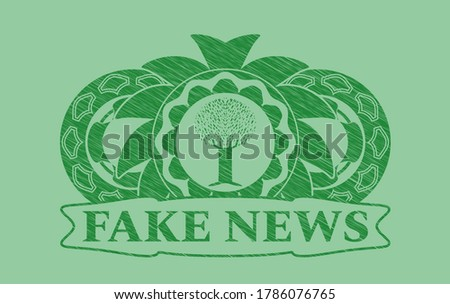 tree icon and fake news text