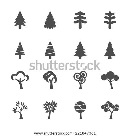 tree icon set, vector eps10.