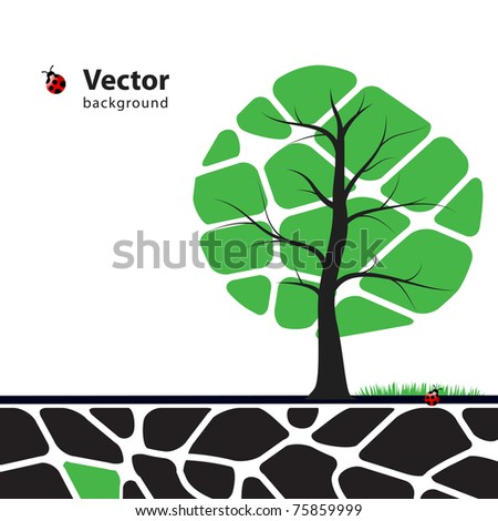 Tree illustration with green leafs. Nature symbol graphic design.
