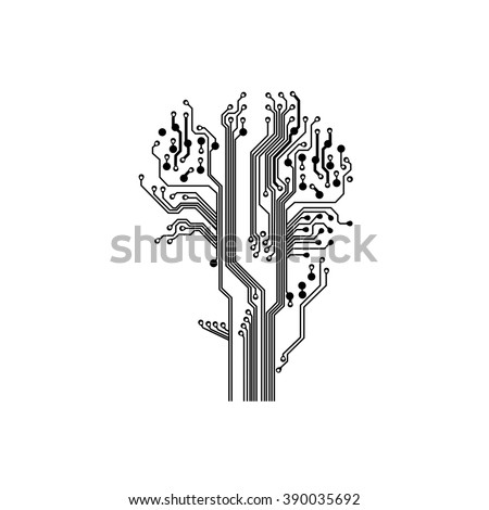 tree in circuit board style