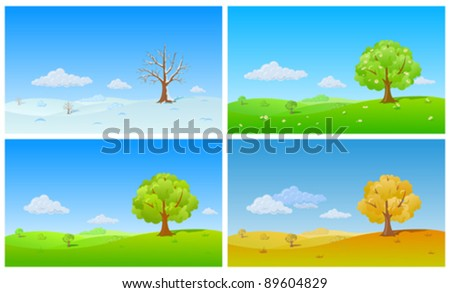 Tree in four Seasons: winter, spring, summer, autumn./ Floral background changing seasons