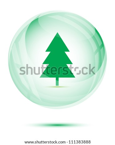 Tree in the green glass sphere