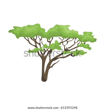 Tree in the savannah.African safari single icon in cartoon style vector symbol stock illustration web.