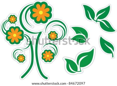 Tree & leaf set - stock vector