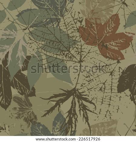 Tree leaves. Khaki camouflage. Vector seamless pattern