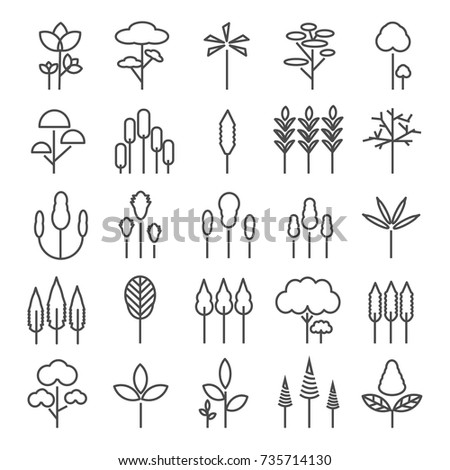 Tree line icons set