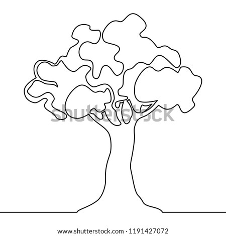 Tree logo continuous one line drawing of nature tree vector illustration