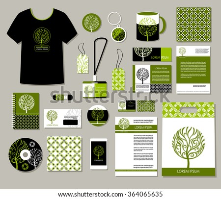 Tree logo, Corporate identity templates design, eco business set, decorative company style layouts, : card, phone, label, envelope, invitation, greeting card, poster, icon, mockup Business stationery