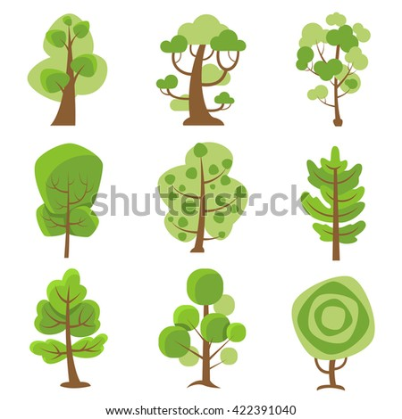 tree logo flat cartoon