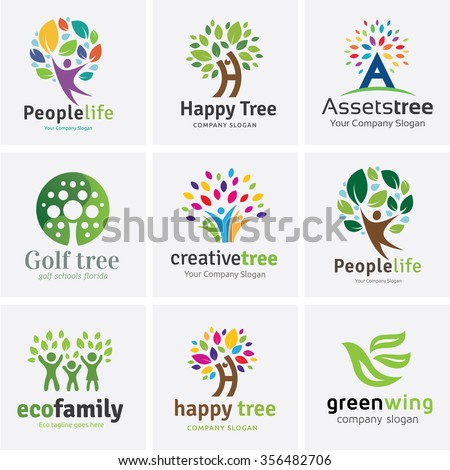 tree logo set people logo set