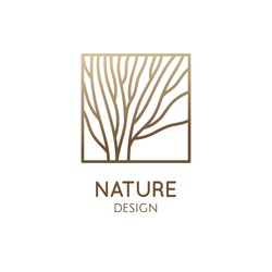 Tree logo template, wooden pattern. Abstract outline square icon of trees, garden, wavy lines. Vector emblem for business design, for a cosmetology, farming, ecology concept, spa, health, yoga Center