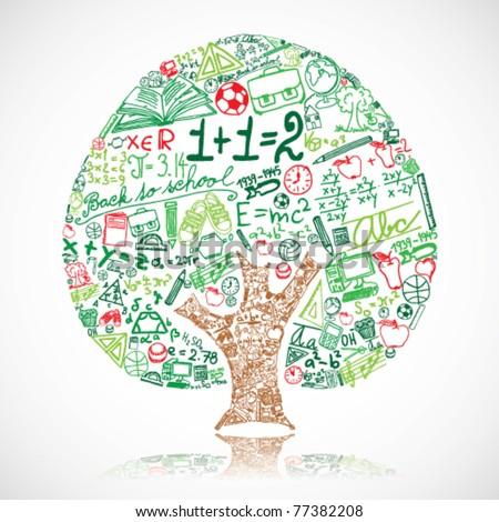 Tree made of school symbols