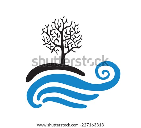 tree near the water  vector