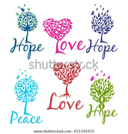Tree of hope, faith and love logo