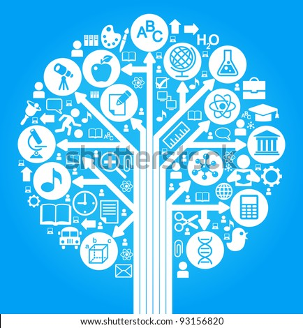 tree of knowledge. the concept of the learning sciences.the abstraction of the icons on the subject of teaching - stock vector