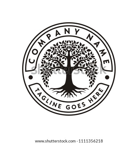 Tree of Life Stamp Seal Emblem Oak Banyan logo design vector
