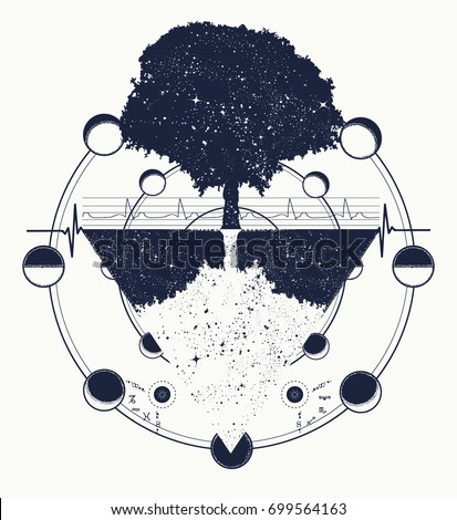 Tree of Life tattoo art. Future and the past, symbol of life and death, magic tree boho style t-shirt design