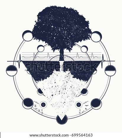 Tree of Life tattoo art, geometrical style, mystic tribal symbol. Future and the past, symbol of life and death, magic tree tattoo boho style. Magic tree t-shirt design