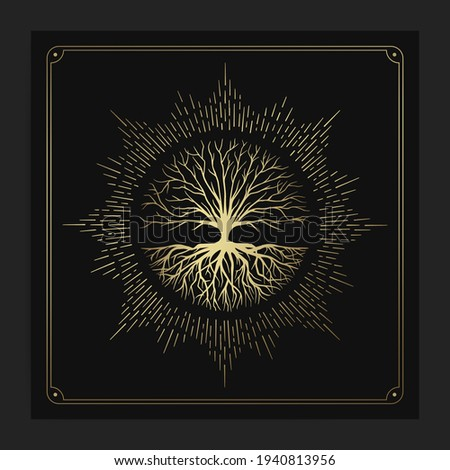 Tree of life with rays round shape design vector gold and green gradient isolated on black and white background Stock foto ©