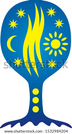 Tree of life with sun and moon. Spiritual symbolic symbol. Yellow  and Blue colors. Vector art graphic.