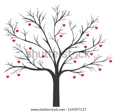 Tree of red Hearts hanging on the branches
