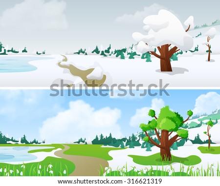 tree on landscape in seasons