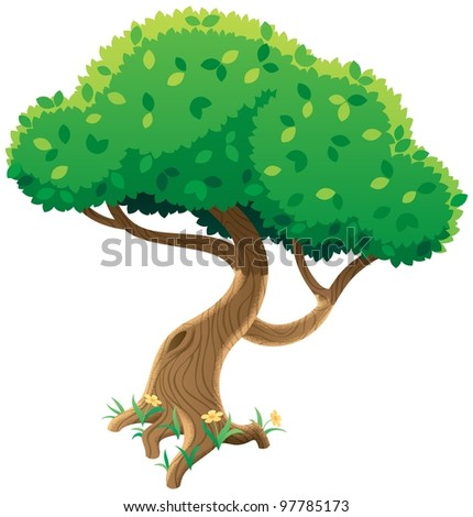 Tree Cartoon Background Tree on White Cartoon Tree