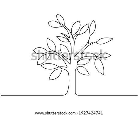 Tree One Line Drawing. Ecology Concept. Tree with Leaves Line Art, Aesthetic Contour. Perfect for Home Decor, Wall Art Posters, or t-shirt Print, Mobile Case. Continuous Line Drawing. Vector EPS 10