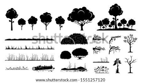 tree  plants  and grass vector