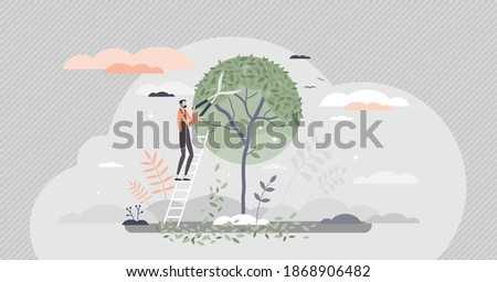 Tree pruning and gardening as tree trimming or shaping tiny person concept. Professional canopy crown forming with gardeners scissors as pruner occupation work visualization scene vector illustration. Stockfoto ©