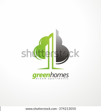 tree shape with city skyline in