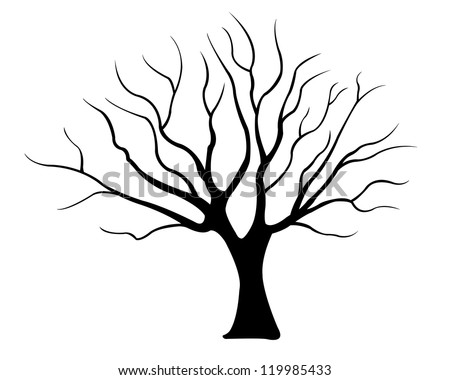 tree silhouette isolated on white