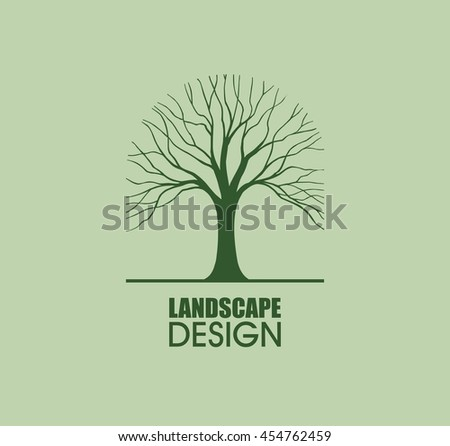 Tree silhouette logo element vector landscape design