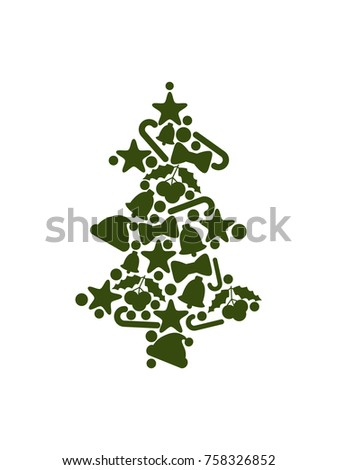 Tree silhouette made up of symbolic icons, stars and balls, mistletoe and bells with ribbons, hat of Santa Claus, image isolated on vector illustration