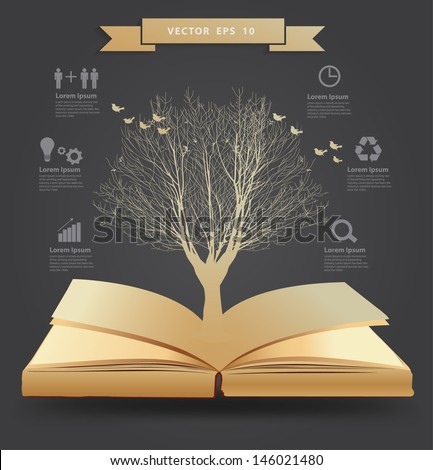 tree silhouette on book  vector