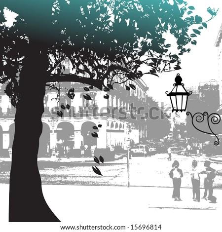 Tree silhouette, street scene