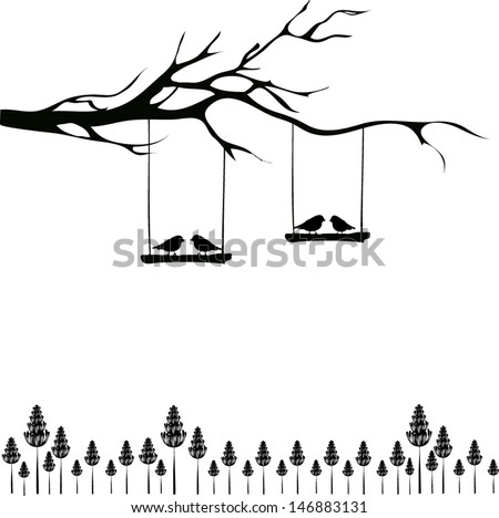 tree silhouette with birds in