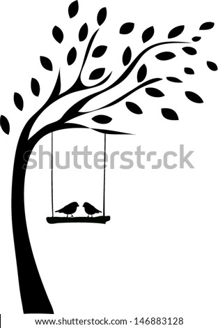 Stock Vector Tree Silhouette With Two Birds on cartoon forest background