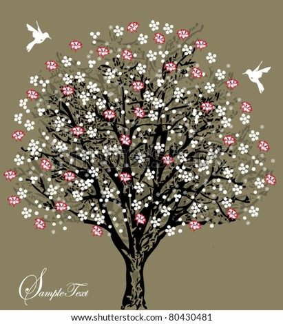 tree silhouette with white and red flowers, symbol of nature