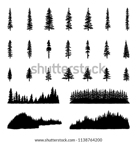 Tree Silhouettes Hand drawn illustrations of trees, tree lines, and forests.