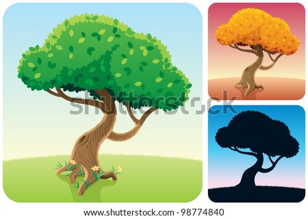Tree Square Landscapes: Cartoon square landscape with a tree in 3 versions. No transparency used. Basic (linear) gradients.
