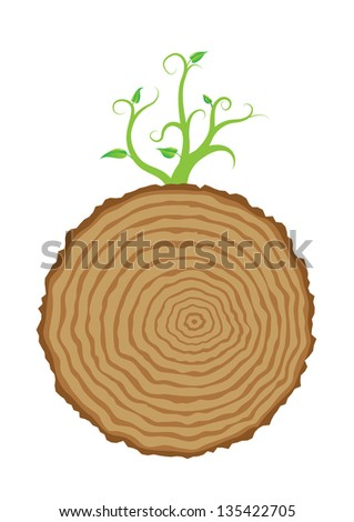 Tree stump and green plant shoot, vector illustration