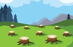 tree stumps showing deforestation, environmental disaster vector illustration design