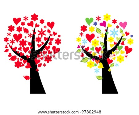 Tree stylized vector illustration with heart leaves