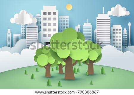 Tree surrounded by a buildings, paper art concept and world sustainable environment friendly idea, vector art and illustration.