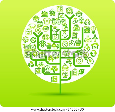 Tree symbol made from small eco,bio,natural icons